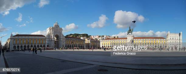 Large Size Panoramic View of Praça do Comercio in the morning, Lisbon, Portugal