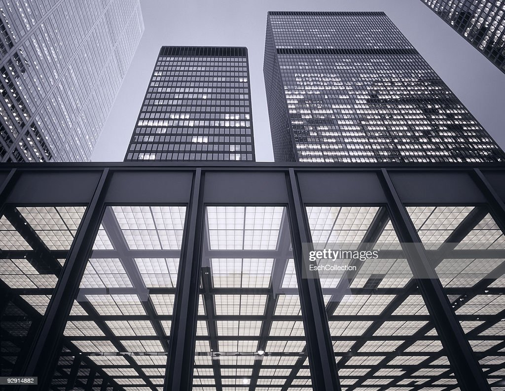Large skyscrapers with office facade in front. : Stock Photo