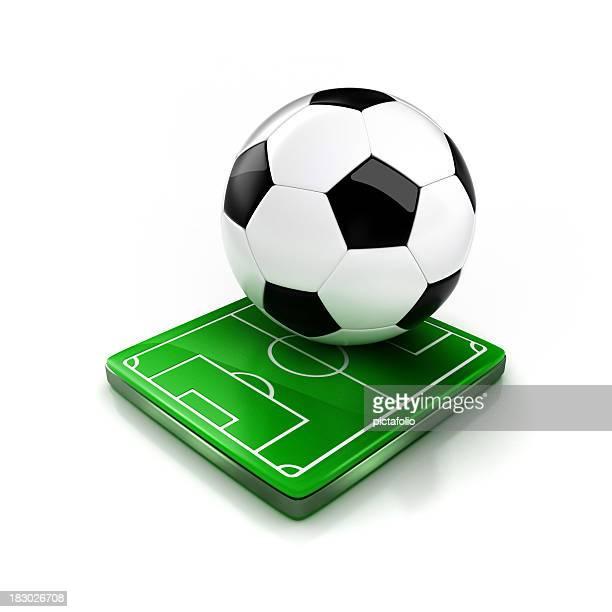 Große Fußball ball sitzt auf der kleinen Fußballplatz