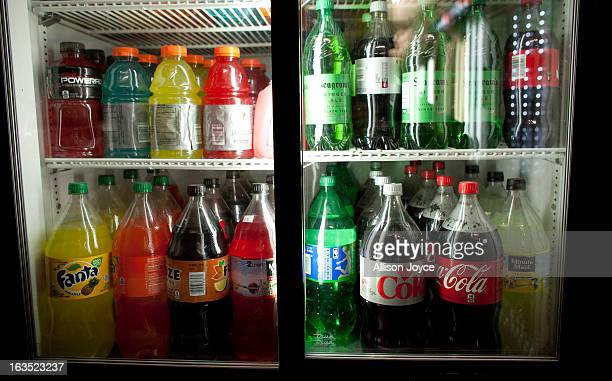 Large soda bottles are seen in a bodega in Chinatown March 11 2013 New York City Today a New York state judge halted a controversial ban on large...