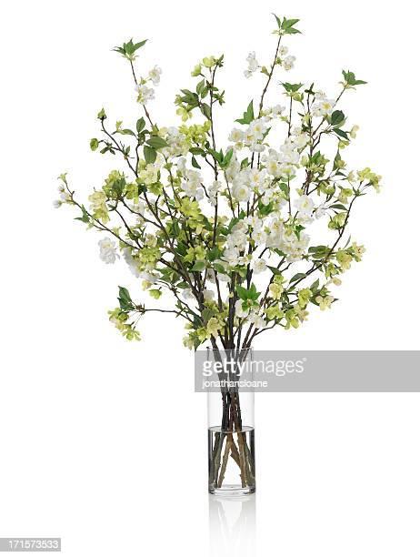 大きなスプリングブーケを緑と白の花の背景に白色