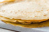 Large Stack of Plain Thin Pancake Crepes for Breakfast.