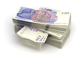 Stack of Pound (isolated with clipping path)