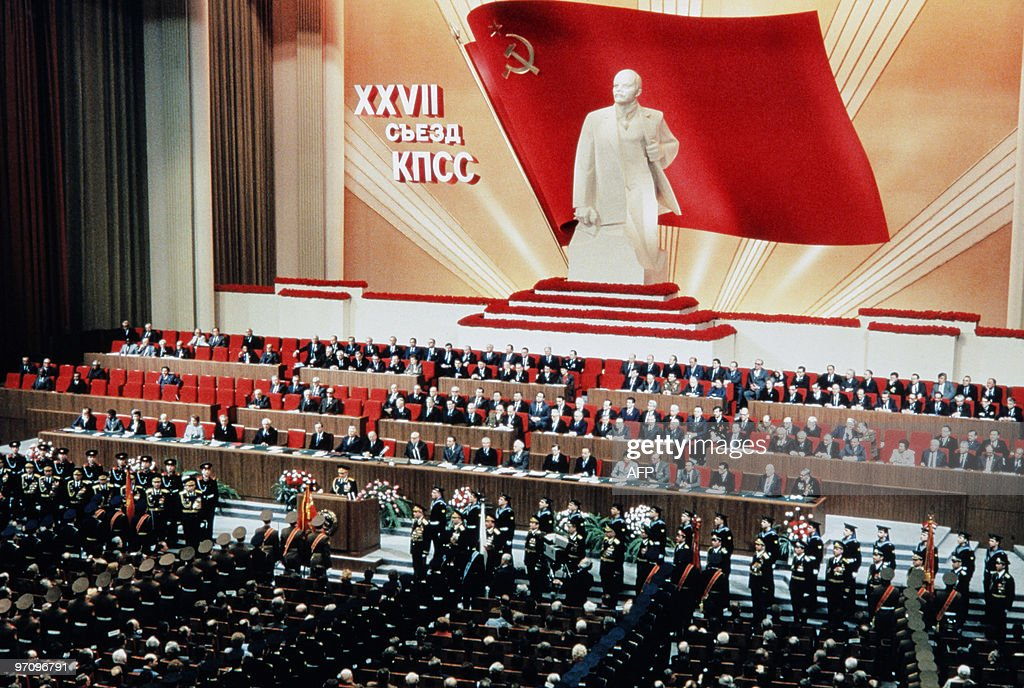 A large statue of Lenin overlooks the 27th Congress Soviet Communist Party in Moscow on March 4 1986 AFP PHOTO