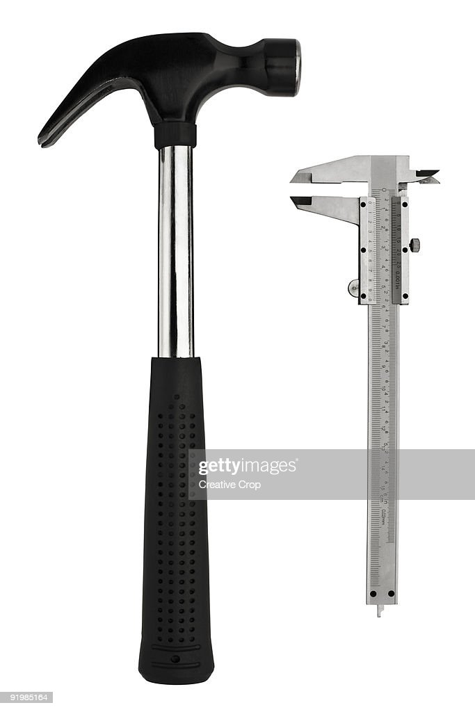Large steel spanner and callipers : Stock Photo