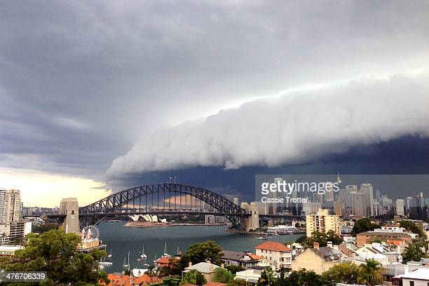 A large storm cloud covers the Sydney CBD on March 5 2014 in Sydney Australia A severe thunderstorm warning was issued for the Sydney metropolitan...