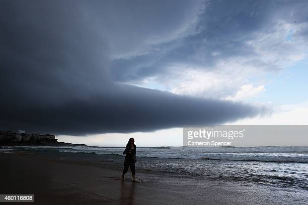 A large storm front moves over Manly Beach on December 7 2014 in Sydney Australia Storm conditions have hit residents of Sydney and surrounding areas...