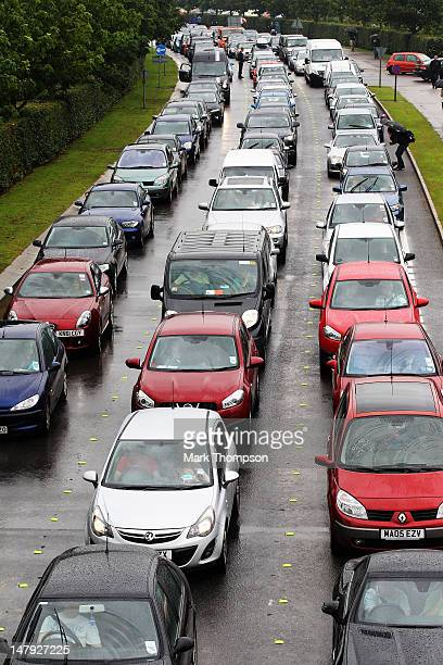 Large traffic jam forms outside the circuit during practice for the British Grand Prix at Silverstone Circuit on July 6 2012 in Northampton England