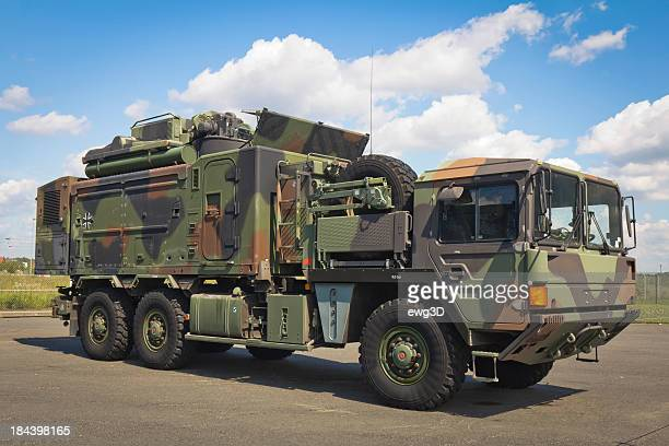 Large truck in a military camouflage