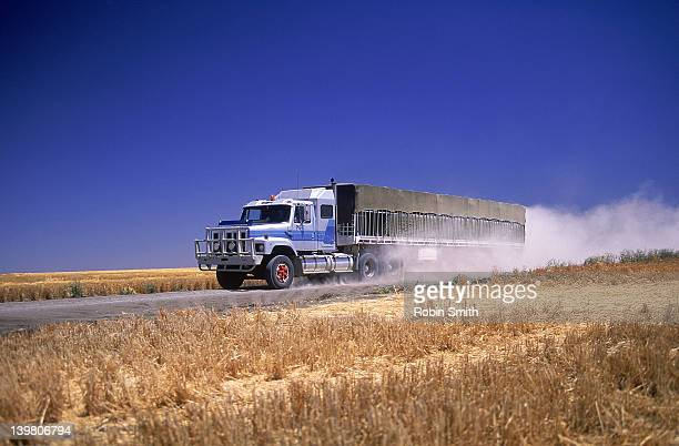 Large truck on unsealed road past  wheat fields, NSW, Australia