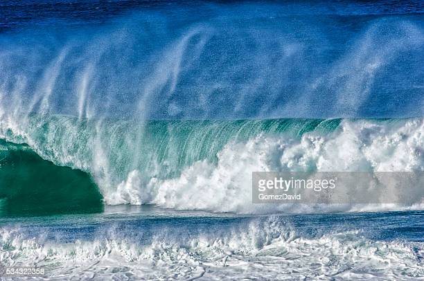 Large Turbulent Ocean Waves Off California Coast