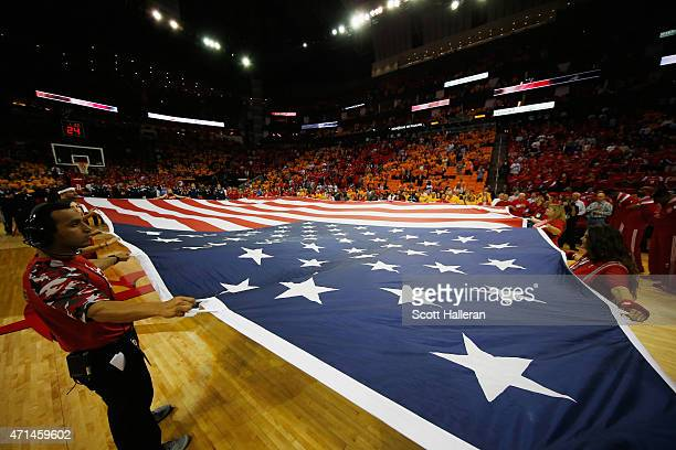 A large USA flag is seen on the court before the start of the game between the Dallas Mavericks and Houston Rockets in Game Five in the Western...