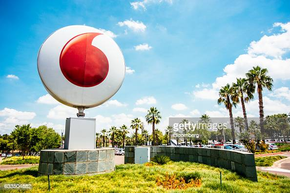 A large Vodacom logo sits on display outside the Vodacom World mall operated by Vodacom Group Ltd in the Midrand district of Johannesburg South...