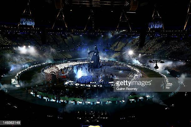 A large Voldemort from the Harry Potter book series looms over performers during the Opening Ceremony of the London 2012 Olympic Games at the Olympic...