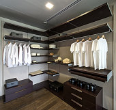 Large walk-in closet with shelves