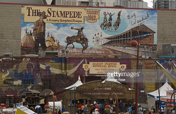 A large wall painting greets visitors to the Calgary Stampede as seen in this 2009 Calgary Canada afternoon photo