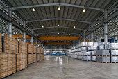 Large Warehouse interior inside a Factory building. Industry manufacturing concept