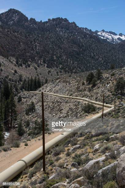 A large water pipeline runs down the mountain near South Lake and into the Los Angeles Aqueduct delivery system as viewed on April 6 near Bishop...
