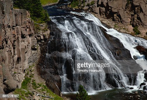 A large waterfall, Gibbon Falls, on Gibbon River : Stock Photo