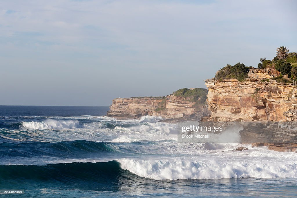 Large waves break across Bronte Beach on May 25, 2016 in Sydney, Australia. All Sydney beaches were closed to swimmers today as large waves pounded the coast.