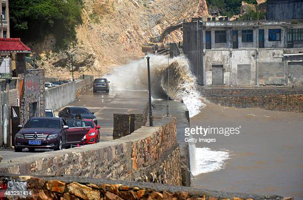Large waves break on the coastline at Shitang Town as Typhoon 'Soudelor' approaches on August 7 2015 in Wenling Zhejiang Province of China Typhoon...
