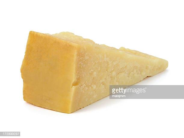 A large wedge of Parmesan cheese