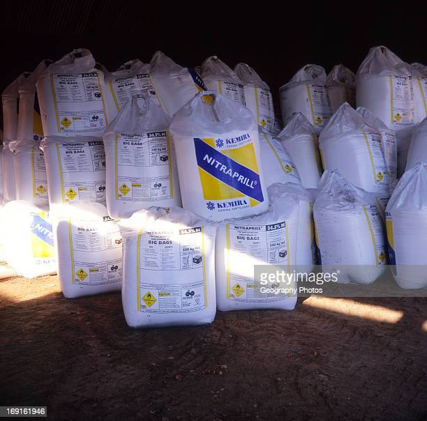 Large white bags of Nitraprill nitrogen fertiliser Britain