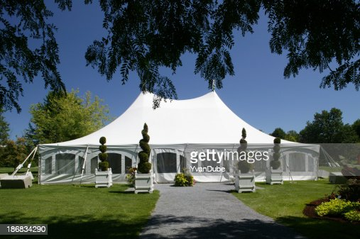 large white party canopy in the park