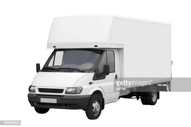 Large white van isolated on a white background with path