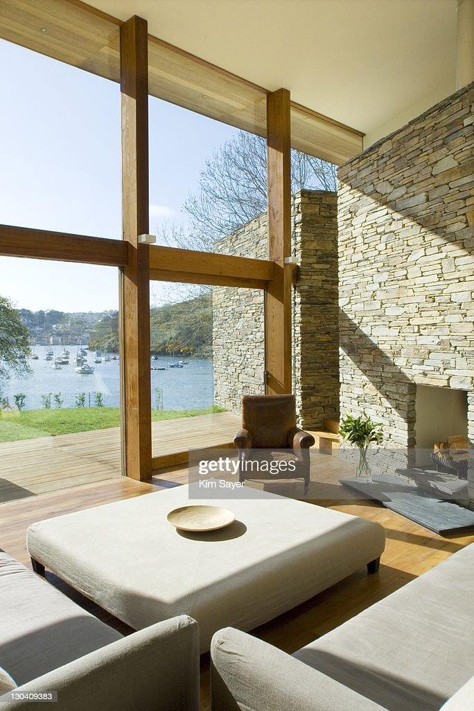 Large Living Room Windows : Large Windows In Modern Living Room Photo  Getty Images