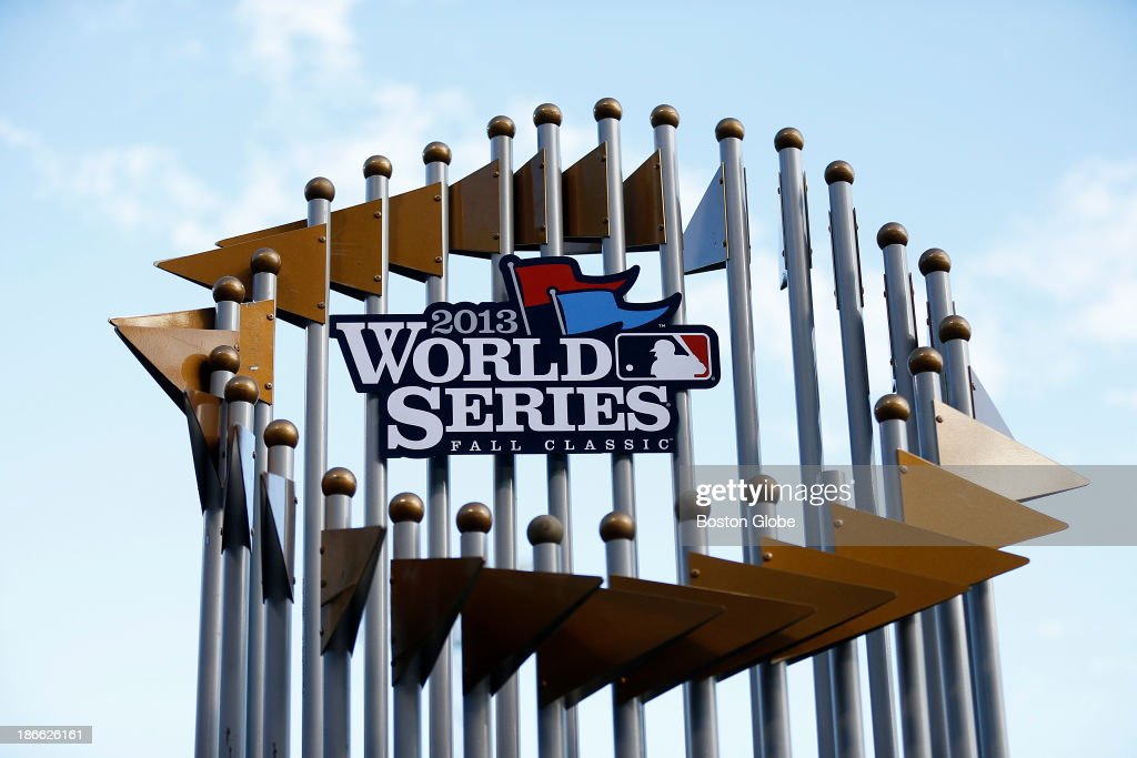 A large World Series trophy replica was photographed at the podium. The Red Sox Rolling Rally started at Fenway Park and paraded around Boston after the Boston Red Sox won the 2013 World Series, on Saturday, Nov. 2, 2013.