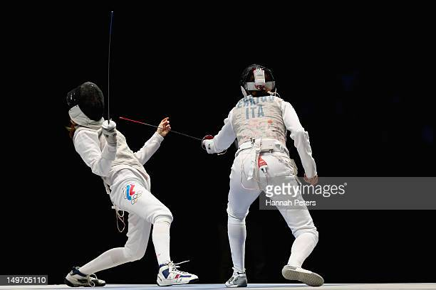 Larisa Korobeynikova of Russia and Arianna Errigo of Italy compete during the Women's Foil Team Fencing gold medal match on Day 6 of the London 2012...