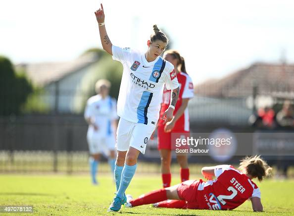 Larissa Crummer of City celebrates after scoring the first goal during the round five WLeague match between Melbourne Cty FC and Adelaide United at...