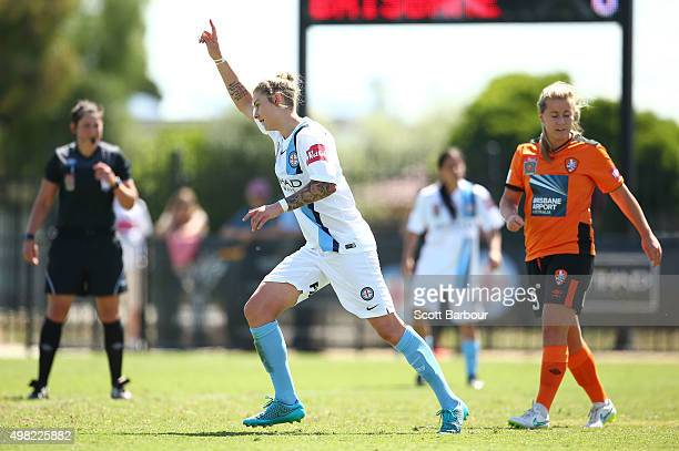 Larissa Crummer of City celebrates after scoring the third goal during the round six WLeague match between Melbourne City and the Brisbane Roar at...