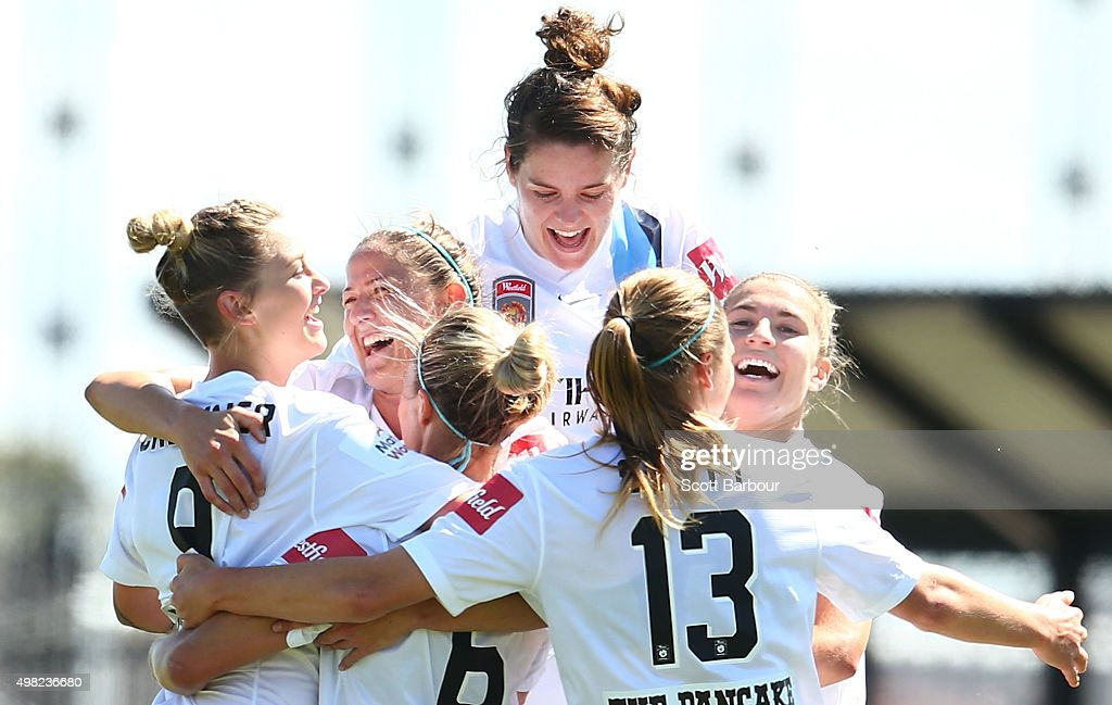 Larissa Crummer of City is congratulated by her teammates after scoring the fourth goal during the round six WLeague match between Melbourne City and...