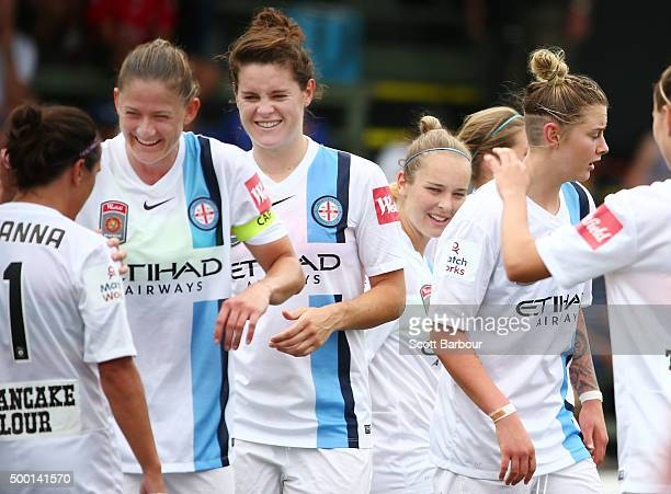 Larissa Crummer of City is congratulated by her teammates after scoring the second goal during the round eight WLeague match between the Melbourne...