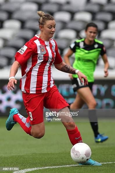 Larissa Crummer of Melbourne City controls the ball during the round four WLeague match between Canberra United and Melbourne City FC at Central...