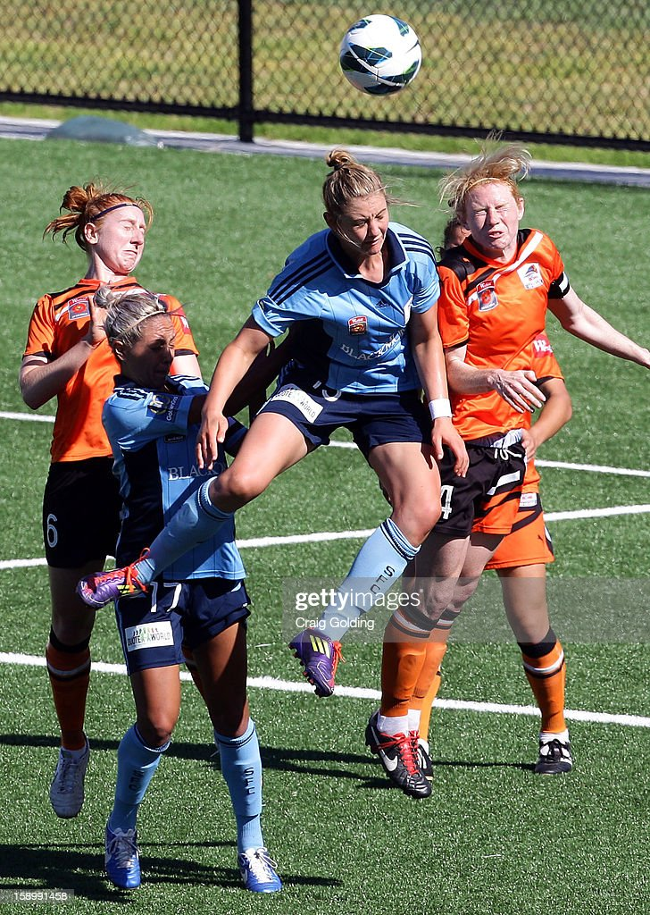 Larissa Crummer of Sydney heads a ball during the round 11 W-League match between Sydney FC and the Brisbane Roar on January 5, 2013 in Sydney, Australia.
