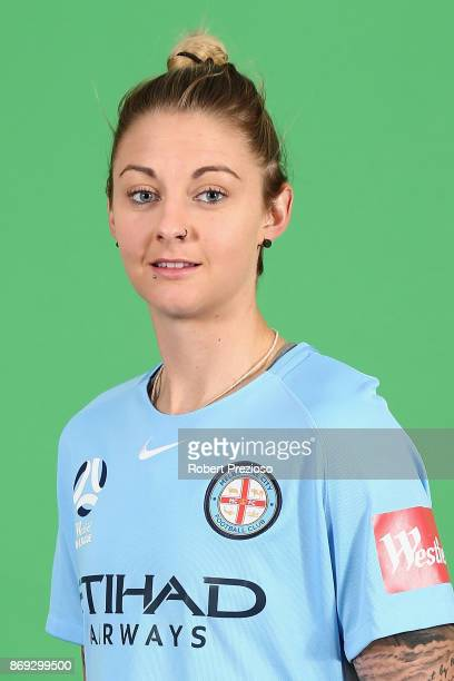 Larissa Crummer poses during the Melbourne City WLeague headshots session on November 2 2017 in Melbourne Australia