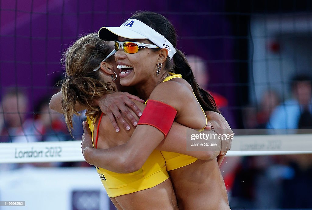 Larissa Franca (L) and Juliana Silva of Brazil celebrate winning the Bronze medal in the Women's Beach Volleyball Bronze medal match against China on Day 12 of the London 2012 Olympic Games at the Horse Guard's Parade on August 8, 2012 in London, England.