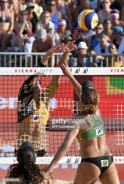 Larissa Franca and Talita Da Rocha Antunes of Brazil play against Laura Ludwig and Kira Walkenhorst of Germany at the Beach Volleyball World...
