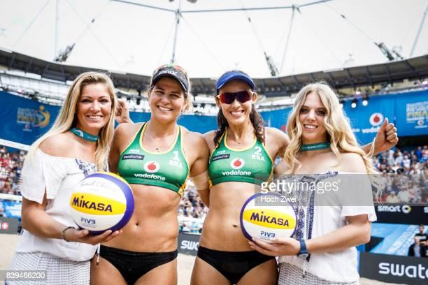 Larissa Franca Maestrini and Talita Da Rocha Antunes of Brazil seen during Day 4 of the Swatch Beach Volleyball FIVB World Tour Finals Hamburg 2017...