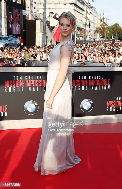 Larissa Marolt attends the world premiere for the film 'Mission Impossible Rogue Nation' at Staatsoper on July 23 2015 in Vienna Austria