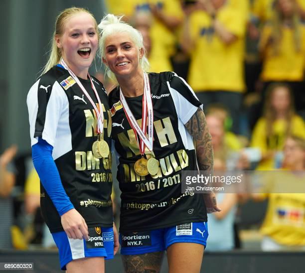 Larke Nolsoe of Nykobing Falster Handbold and Kristina Kristiansen of Nykobing Falster Handbold celebrate after the Primo Tours Ligaen 3 Final match...
