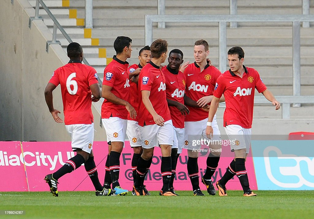 Larnell Cole of manchester United celebrates after scoring the opening goal during the Barclays U21s Premier League match between Manchester United U21 and Liverpool U21 at Salford City Stadium on August 19, 2013 in Salford, England.