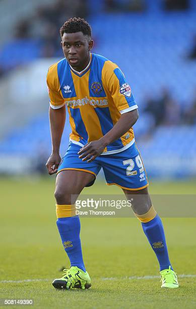 Larnell Cole of Shrewsbury Town during The Emirates FA Cup Fourth Round tie at New Meadow on January 30 2016 in Shrewsbury England