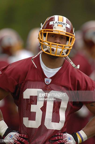 Laron Landry 1st round draft pick of the Washington Redskins practices during Redskins rookie camp at their practice facility on May 5 2007 in...