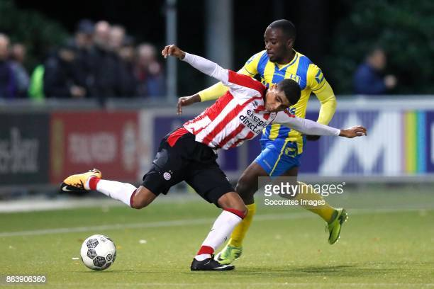Laros Duarte of PSV U23 Jordi Malela Ndanba of RKC Waalwijk during the Dutch Jupiler League match between PSV U23 v RKC Waalwijk at the de Herdgang...