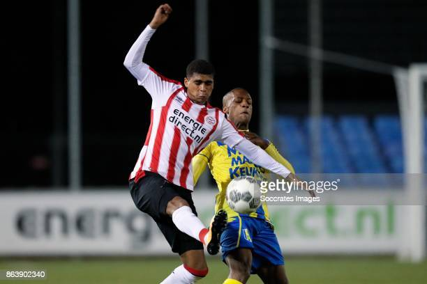 Laros Duarte of PSV U23 Serginho Green of RKC Waalwijk during the Dutch Jupiler League match between PSV U23 v RKC Waalwijk at the de Herdgang on...