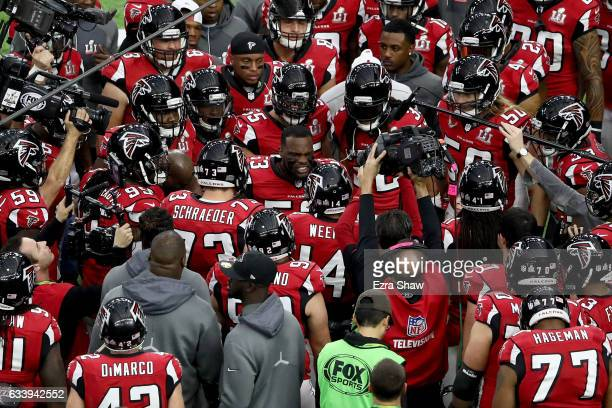 LaRoy Reynolds of the Atlanta Falcons warms up with teammates prior to Super Bowl 51 against the New England Patriots at NRG Stadium on February 5...